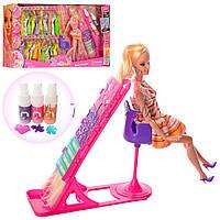 """Кукла барби шарнирная с нарядами """"Салон красоты"""" 68033: 24 наряда + краска для волос + аксессуары"""
