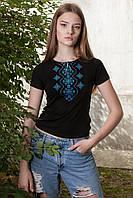 Жіноча футболка з вишивкою Хвилька аквамарин, фото 1