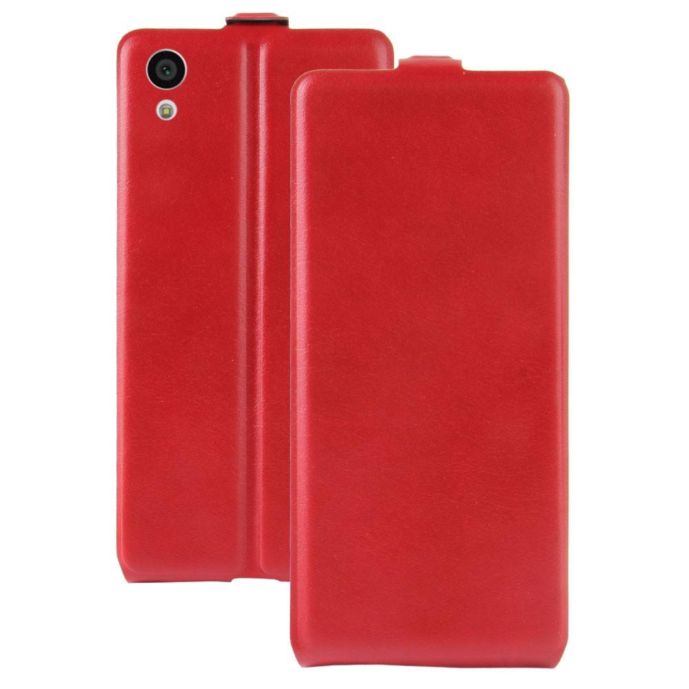 Чехол книжка для Sony Xperia XA1 G3112 вертикальный флип, Гладкая кожа, красный