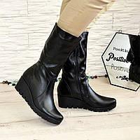 Ботинки кожаные женские зимние на невысокой платформе., фото 1