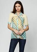 8016 Блуза женская в клетку желтая: imprezz.com.ua