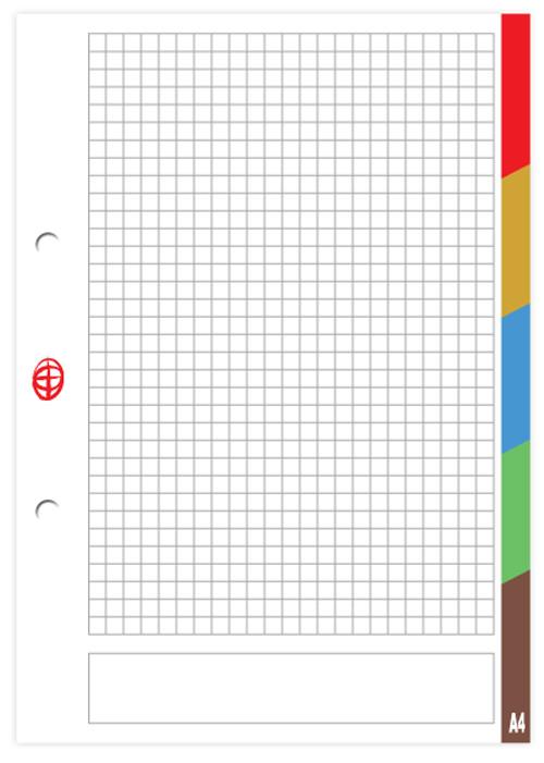 Сменный блок для регистратора,  формат А -5, 50 листов, клетка,   5 разделитей, разноцветные  поля