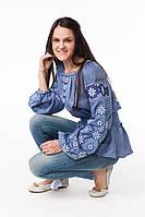 Жіноча вишиванка Зорепад джинс, фото 1