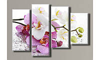 """Модульная картина на холсте """"Орхидеи на стекле 2"""" для интерьера"""