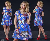 Цветочное романтичное платье в кукольном стиле с поясом в комплекте