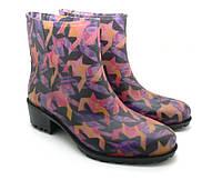Женские резиновые ботинки на каблуке, фиолетовый цвет, принт Летучая мышь БЖП-5/2 (36-41)