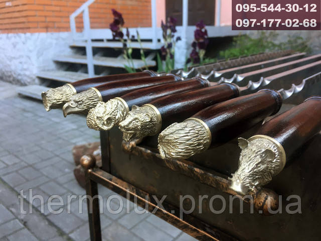 Деревянная ручка для шампуров с головой зверей