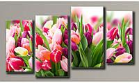 """Модульная картина на холсте """"Розовые тюльпаны 2"""" для интерьера"""