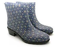 Женские силиконовые ботинки с каблучком, синий цвет, принт Рабица БЖП-5/2 (36-41).