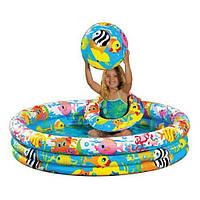 Детский Надувной бассейн Intex 59469 (132х28см) + круг и мяч