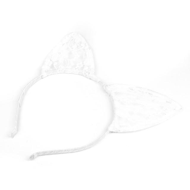 Обруч для волос Кошачьи ушки гипюровые белые