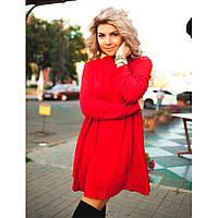 Платье-туника клеш из ангоры Украина 0147 красный