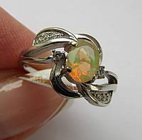 Кольцо с роз. опалом (5х7мм). Серебро, позолота