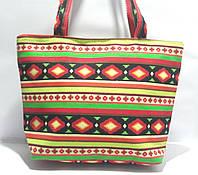 Пляжная текстильная летняя сумка для пляжа и прогулок Орнамент 1 небольшой размер