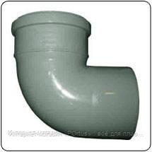 Відвід (коліно) 110х90º ПП Європласт з розтрубом і ущільнювальним кільцем для внутрішньої каналізації сірий