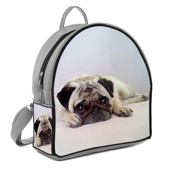 Серый стильный городской рюкзак с принтом Мопс