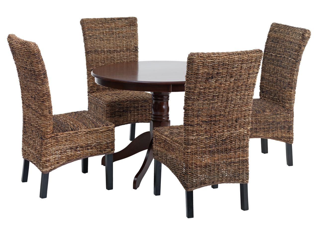 Комплект кухонный (обеденная группа из круглого стола 100 см стол + 4 стула плетеных)
