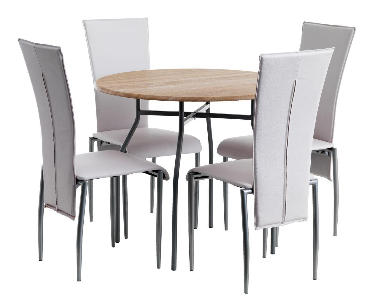 Обеденная группа  (Стол круглый светлый + 4 стула светлых кремовых кожаных с высокой спинкой )
