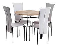 Обеденная группа  (Стол круглый светлый + 4 стула светлых кремовых кожаных с высокой спинкой ), фото 1