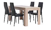Комплект кухонный  (стол обеденный 160 см + 4 стула черных со спинкой )