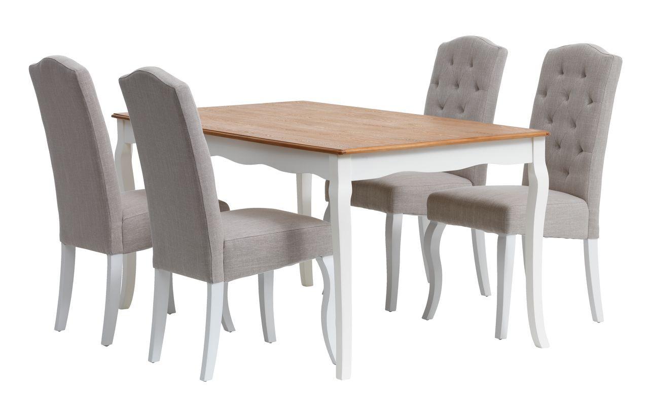 Изысканный комплект кухонный песочно белый (стол + 4 мягких стула)