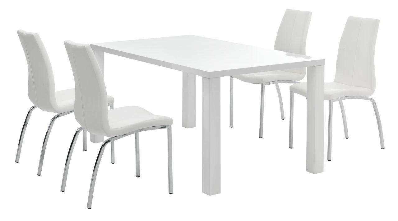 Стильный кухонный комплект ( cтол прямоугольный белый 160 см белый глянец + 4 стула белые кожаные )