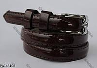 """Ремень женский шпенек лак темно-коричневый (кожзам,   8-10 мм.) """"Remen"""" LM-638"""
