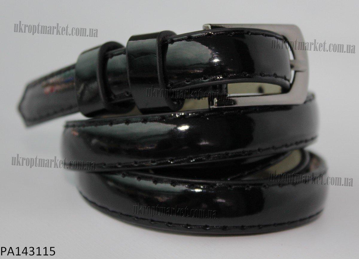 """Ремень женский шпенек лак черный (кожзам,  8-10 мм.) """"Remen"""" LM-638"""