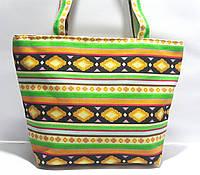 Пляжная текстильная летняя сумка для пляжа и прогулок Орнамент 3 небольшой размер