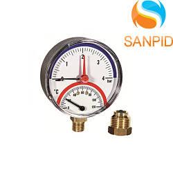 Термоманометр Watts TMRA 80mm (0-4 bar / 0-120 °С)