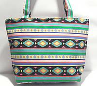 Пляжная текстильная летняя сумка для пляжа и прогулок Орнамент 4 небольшой размер