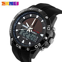 Спортивные водостойкие часы Skmei Solar 1064 Black с солнечной батареей, ГАРАНТИЯ 6 мес. Чоловічий годинник