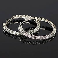 Сережки кільця ф 5,5 см ювелірна біжутерія сріблення 1572-б, фото 1