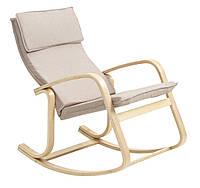 Кресло качалка мягкое тканевое бежевое