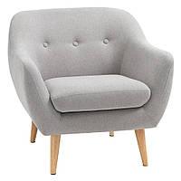 Кресло стильное мягкое на деревянных ножках светло серое