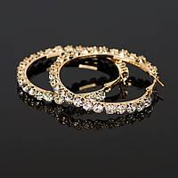 Серьги кольца ф 5,5 см ювелирная бижутерия позолота 1572-а