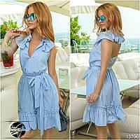 Стильное летнее платье с клешеной юбкой в сборку на талии, декорировано воланами на плечах и по низу.
