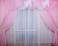 Комплект шифоновых штор и ламбрекена карниз 3 м