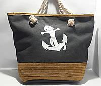 Пляжная текстильная летняя сумка Якорь серая