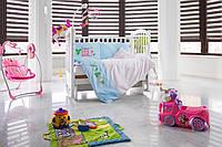 Детское постельное белье с бортиками «Милый мышонок» , САТИН 100%, голубой/елый