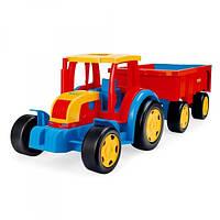 Большой игрушечный трактор Гигант с прицепом Wader 66100