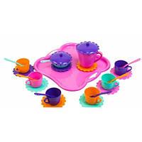 Набор игрушечной посуды Ромашка с подносом 26 элементов 39093