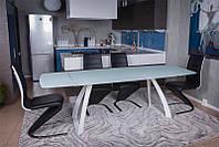 Современный обеденный раскладной стол London new (Лондон нью), цвет белый, стеклянная столешница 12 мм