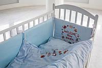 Детское постельное белье  «Лесные животные» , САТИН 100%, голубой