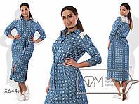 Платье-рубашка  из тонкого джинса под пояс с задней кокеткой из макраме  размер 48-54