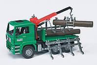 Игрушка Bruder Грузовик MAN перевозчик брёвен с краном-погрузчиком М1:16 (02769)