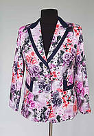 Пиджак женский на подкладке цветочная расцветка 3 D