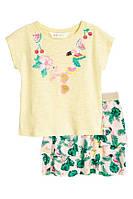Костюм футболка + юбка тропического стиля на девочку 98/104