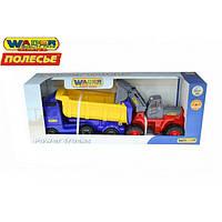 """""""Volvo"""" автомобиль-самосвал с полуприцепом + трактор-погрузчик (в коробке) ПОЛЕСЬЕ 36872"""
