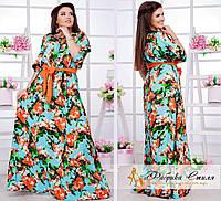 Шикарное летнее платье в пол с цветами